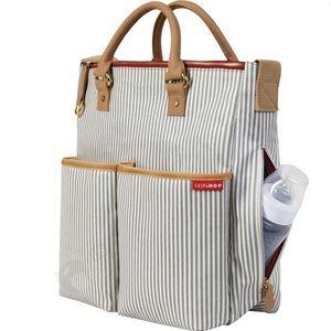 Skip Hop diaper bag purse zip magnetic Stripe gray